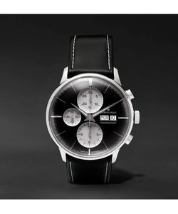 Junghans | Meister Chronoscope Stainless Steel And Leather Watch