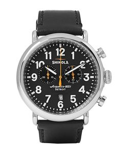 SHINOLA | The Runwell 47mm Stainless Steel And Leather Chronograph Watch
