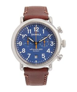 SHINOLA | The Runwell 47mm Chronograph Stainless Steel And Leather Watch
