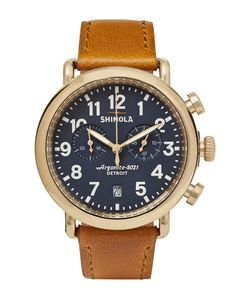 SHINOLA | The Runwell 41mm Pvd Gold-Plated And Leather Chronograph Watch