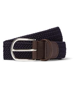ANDERSON'S | 3.5cm Midnight-Blue Woven Waxed-Cord Belt