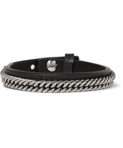 Givenchy | Leather And Ilver-Tone Bracelet