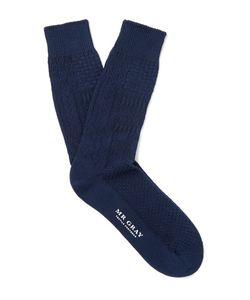 Mr. Gray | Aran Knitted Cotton-Blend Socks