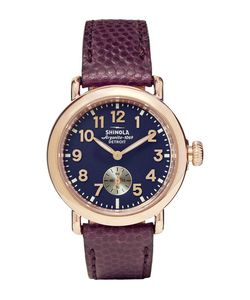 SHINOLA | The Runwell 36mm Pvd Rose Gold-Plated And Pebble-Grain Leather