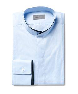 Kilgour | Blue Slim-Fit Contrast-Tipped Grandad-Collar Cotton Shirt