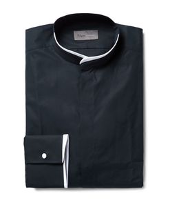 Kilgour | Midnight-Blue Slim-Fit Contrast-Tipped Grandad-Collar Cotton Shirt