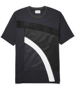 Solid Homme | Suede-Trimmed Appliquéd Wool-Blend Jersey T-Shirt