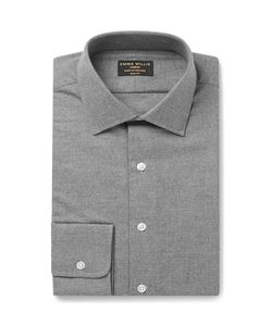 Emma Willis | Grey Slim-Fit Brushed-Cotton Shirt
