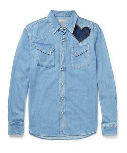 Kapital   Slim-Fit Appliquéd And Embroidered Denim Shirt