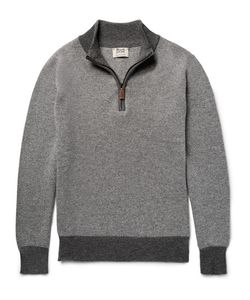 William Lockie | Two-Tone Birdseye Cashmere Half-Zip Sweater