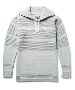 S.N.S. HERNING | Fisherman Textured Virgin And Merino Wool-Blend Half-Zip Sweater