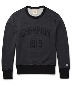 Todd Snyder + Champion | Todd Nyder Champion Embroidered Loopback Cotton-Jerey Weathirt Dark