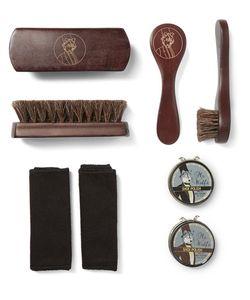 WOLF | Blake Pebble-Grain Leather Shoe Shine Kit
