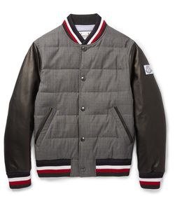 Moncler Gamme Bleu | Quilted Wool And Leather Down Bomber Jacket