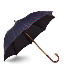 FRANCESCO MAGLIA | Lord Chestnut Wood-Handle Striped Twill Umbrella
