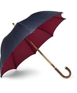 FRANCESCO MAGLIA | Lord Chestnut Wood-Handle Two-Tone Twill Umbrella