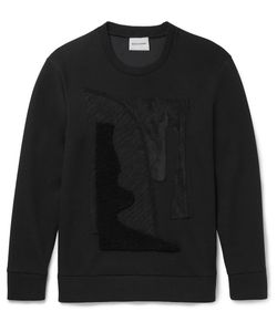 Solid Homme | Jersey Shearling And Suede-Appliquéd Scuba-Jersey Sweatshirt