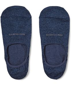 Marcoliani | Invisible Touch Mélange Pima Cotton-Blend No-Show Socks Storm