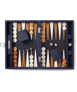 Hector Saxe | Daniel Denim And Leather Backgammon Set Dark