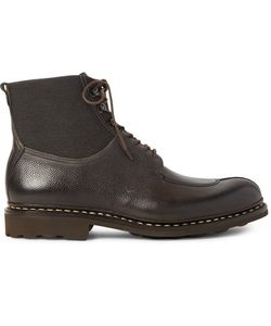 Heschung | Ginkgo Pebble-Grain Leather And Canvas Boots
