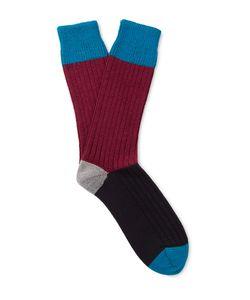 Corgi | Colour-Block Wool And Cotton-Blend Socks