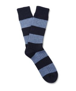 Corgi | Striped Wool And Cotton-Blend Socks Idnight Blue
