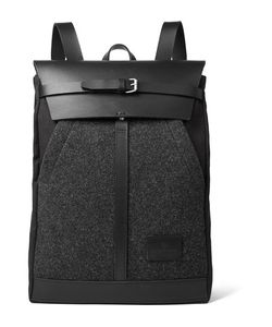 Atelier de L'Armée | Leather-Trimmed Mélange Wool And Canvas Backpack