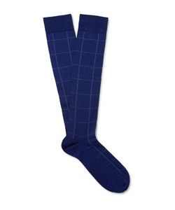 Marcoliani | Checked Pima Cotton-Blend Over-The-Calf Socks