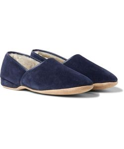 Derek Rose | Crawford Shearling-Lined Suede Slippers