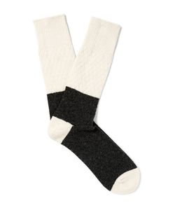 Anonymous Ism | Two-Tone Textured Wool-Blend Socks