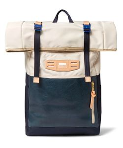 Master Piece | Roll-Top Leather-Panelled Canvas Backpack