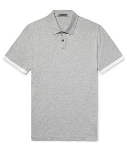 James Perse | Contrast-Tipped Mélange Cotton Polo Shirt