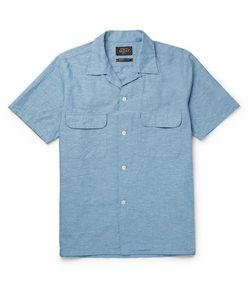 Beams Plus | Camp-Collar Cotton And Hemp-Blend Chambray Shirt