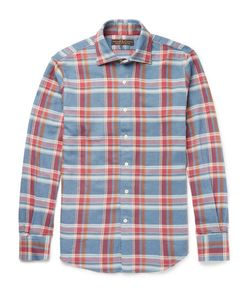Freemans Sporting Club | Slim-Fit Cutaway-Collar Plaid Cotton-Flannel Shirt