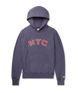 Todd Snyder + Champion | Todd Nyder Champion Embroidered Loopback Cotton-Jerey Hoodie