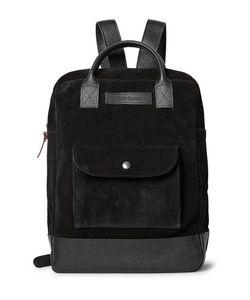 Oliver Spencer | Pebble Grain Leather-Trimmed Suede Backpack