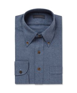 Thom Sweeney | Slim-Fit Houndstooth Brushed-Cotton Shirt