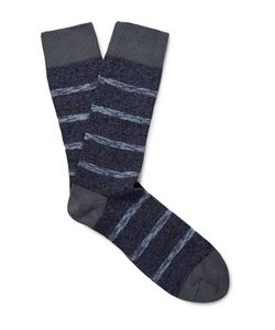 The Workers Club | Striped Mélange Cotton-Blend Socks
