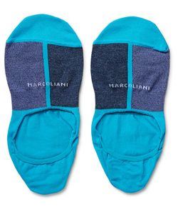 Marcoliani | Invisible Touch Colour-Block Pima Cotton-Blend No-Show Socks