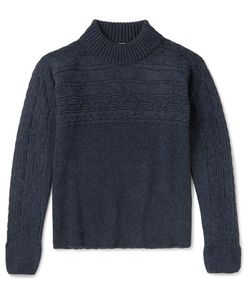 Eidos | Cable-Knit Wool Mock Neck Sweater