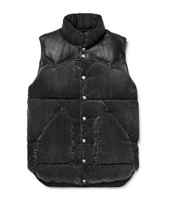 Rocky Mountain Featherbed | Leather-Trimmed Washed Cotton-Blend Corduroy Down Gilet