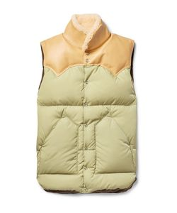 Rocky Mountain Featherbed | Christy Leather And Shearling-Trimmed Shell Down Gilet
