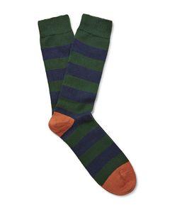 The Workers Club | Striped Merino Wool-Blend Socks