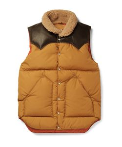 Rocky Mountain Featherbed | Slim-Fit Leather And Shearling-Trimmed Shell Down Gilet