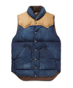 Rocky Mountain Featherbed | Slim-Fit Leather And Corduroy-Trimmed Denim Down Gilet