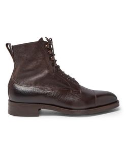 EDWARD GREEN | Galway Cap-Toe Grained-Leather Boots
