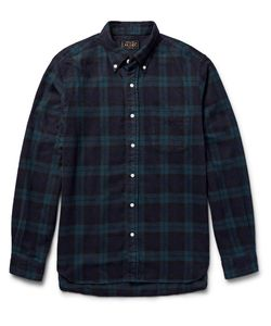 Beams Plus | Beams Pus Shaggy Button-Down Coar Checked Brushed-Cotton Fanne Shirt