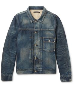 Fabric-Brand & Co | Hawley Distressed Washed-Denim Jacket