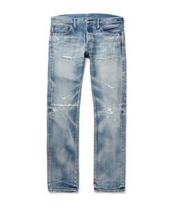 Fabric-Brand & Co | Nuno Slim-Fit Distressed Washed Selvedge Denim Jeans