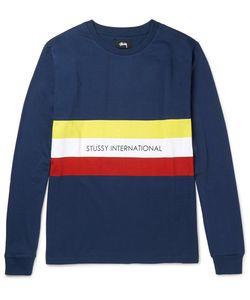 Stüssy | Race Stripe Printed Cotton-Jersey T-Shirt